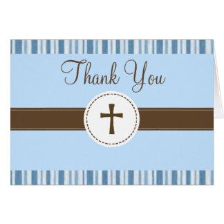 Christening Blue Stripe Thank You Card