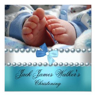 Christening Boy White Blue Pearl Bow Add Photo Card
