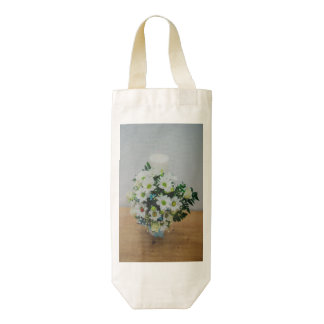 Christening candle with white flowers zazzle HEART wine bag