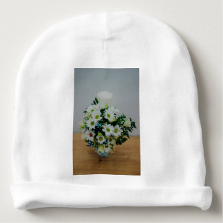 Christening candle with white flowers baby beanie