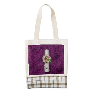 Christening candle zazzle HEART tote bag