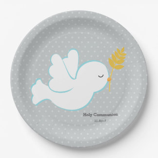 Christening dove * choose background color paper plate