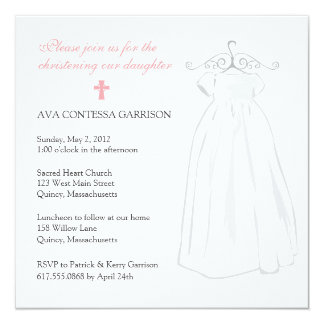 Christening Dress and Pink Cross Card
