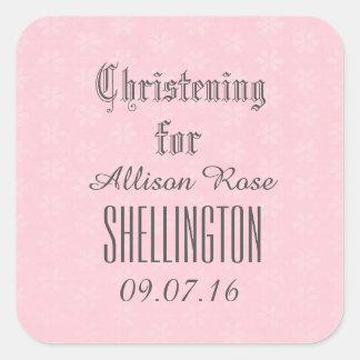 Christening for Girl PINK Tiny Flowers V04 Square Sticker