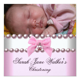 Christening Girl Pink White Pink Pearl Photo Card