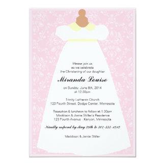 Christening Gown (Pink) Baptism Invitation