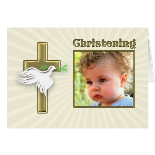 Christening invitation with a golden cross greeting card