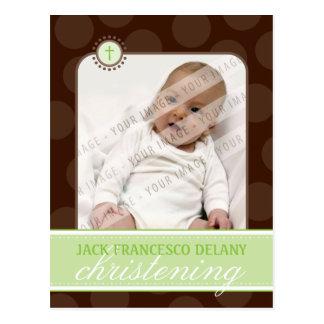 CHRISTENING INVITE :: polka dot - lime green Postcard