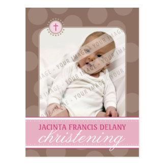 CHRISTENING INVITE :: polka dot - pink Postcard