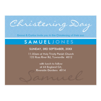 CHRISTENING INVITE simply groovy blue mocha brown Postcard