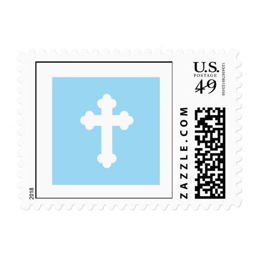 Christening Postage Stamp - Blue Cross