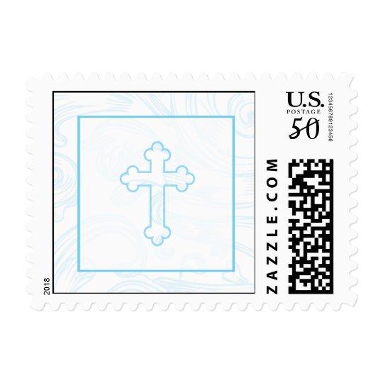 Christening Postage Stamp - Blue Scroll Cross
