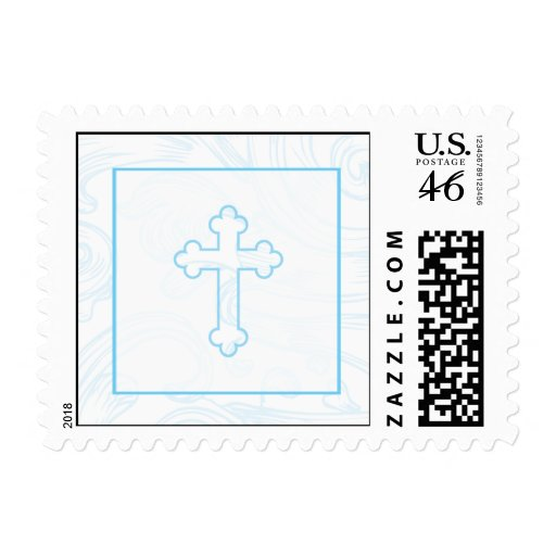 Christening Postage Stamp - Blue Scroll Cross
