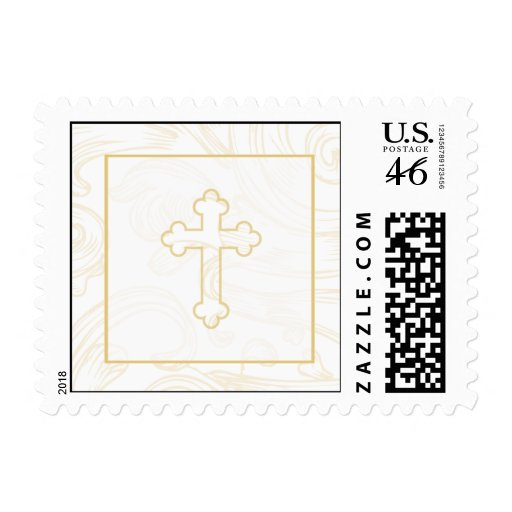 Christening Postage Stamp - Gold Scroll Cross
