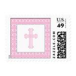 Christening Postage Stamp - Pink Cross