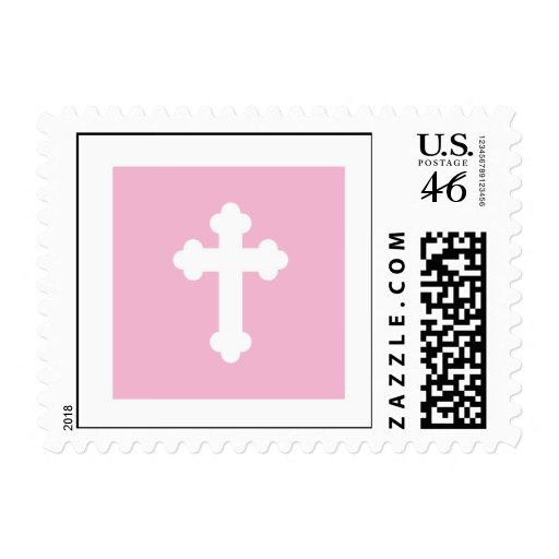 Christening Postage Stamp - Pink Cross