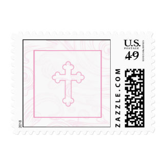 Christening Postage Stamp - Pink Scroll Cross