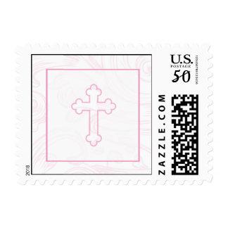 Christening Postage Stamp - Pink Scroll Cross