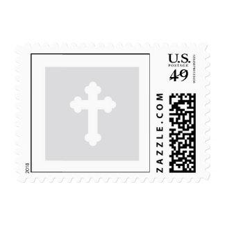 Christening Postage Stamp - Silver Cross