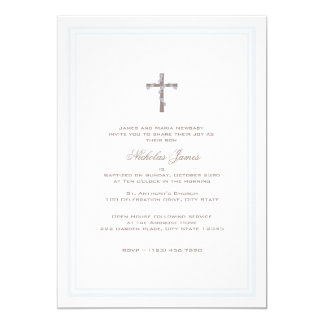 Christening Soft Blue and Brown Card