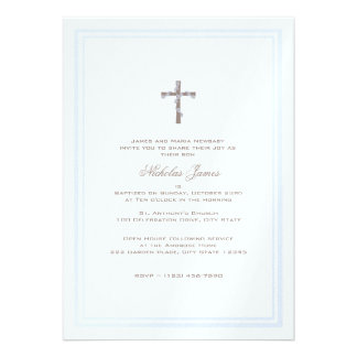 Christening Soft Blue and Brown Announcement