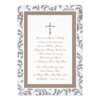 Christening Soft Blue and Brown Paisley Custom Invite