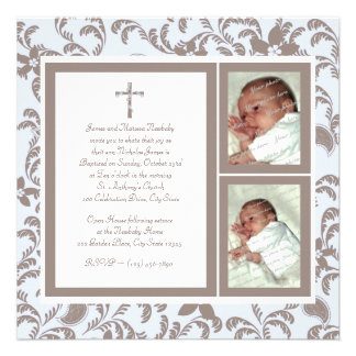 Christening Soft Blue and Brown Paisley Photo Personalized Announcement