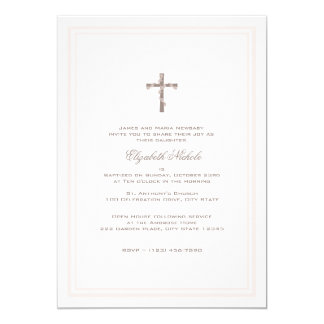 Christening Soft Pink and Brown 5x7 Paper Invitation Card