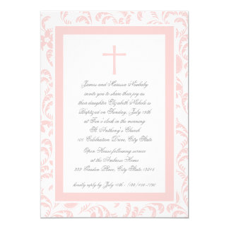 Christening Soft Pink Paisley Card