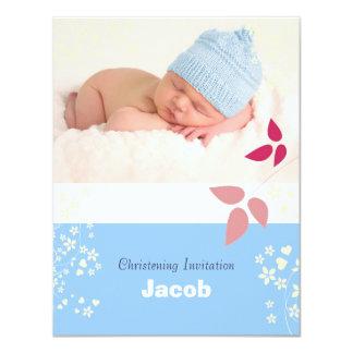 Christening, white, blue, pink baby boy invitation