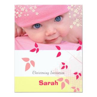Christening, white, yellow, pink baby invitation