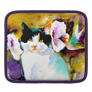 """Christeve the Cat with Hummingbird"" Print on Sleeve For iPads"