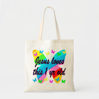 CHRISTIAN 1 YEAR OLD BUTTERFLY BIRTHDAY DESIGN TOTE BAG