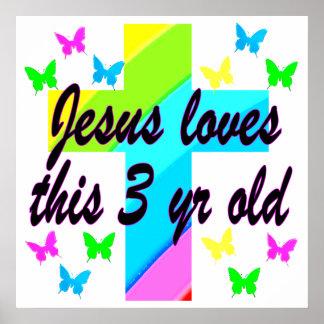 CHRISTIAN 3 YR OLD BIRTHDAY PRAYER DESIGN POSTER