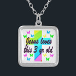 """CHRISTIAN 3 YR OLD BIRTHDAY PRAYER DESIGN SILVER PLATED NECKLACE<br><div class=""""desc"""">Your blessed 3 year old is a special gift from God will look heavenly in this rainbow cross and butterflies 3rd birthday design on Christian baby apparel, nursery d&#233;cor, party goods, and religious gifts. This 3 year old is loved by Jesus and is protected by her special Angels. What a...</div>"""