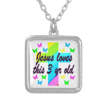 CHRISTIAN 3 YR OLD BIRTHDAY PRAYER DESIGN SILVER PLATED NECKLACE