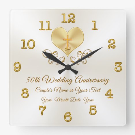 Christian 50th Anniversary Gifts, Personalized Square Wall Clock