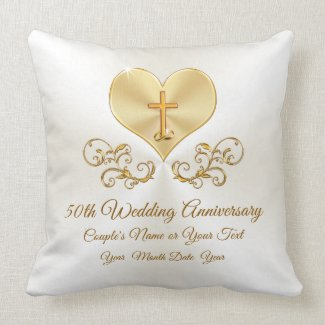 Christian 50th Anniversary Pillow, Personalized Throw Pillow