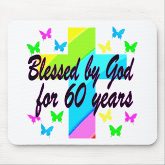 CHRISTIAN 60 BIRTHDAY CROSS DESIGN MOUSE PAD