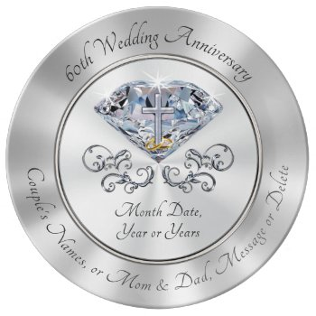 Christian 60th Anniversary Gifts Diamond Cross Dinner Plate