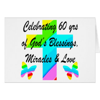 CHRISTIAN 60TH BIRTHDAY CROSS AND BUTTERFLY DESIGN CARD