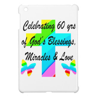 CHRISTIAN 60TH BIRTHDAY CROSS AND BUTTERFLY DESIGN iPad MINI CASES