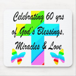 CHRISTIAN 60TH BIRTHDAY CROSS AND BUTTERFLY DESIGN MOUSE PAD