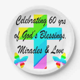 CHRISTIAN 60TH BIRTHDAY CROSS AND BUTTERFLY DESIGN PAPER PLATE