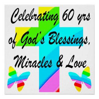 CHRISTIAN 60TH BIRTHDAY CROSS AND BUTTERFLY DESIGN POSTER