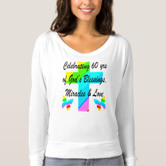 CHRISTIAN 60TH BIRTHDAY CROSS AND BUTTERFLY DESIGN T-SHIRT