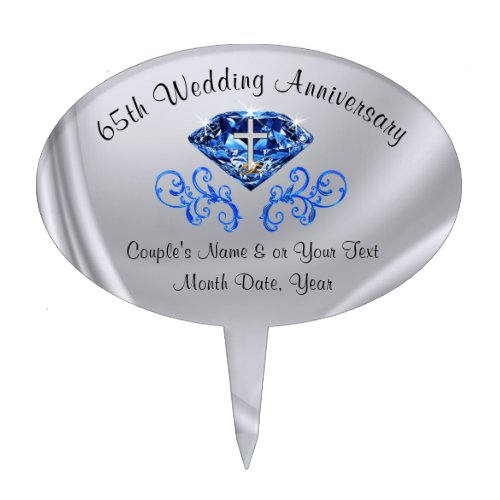 Christian 65th Wedding Anniversary Cake Topper