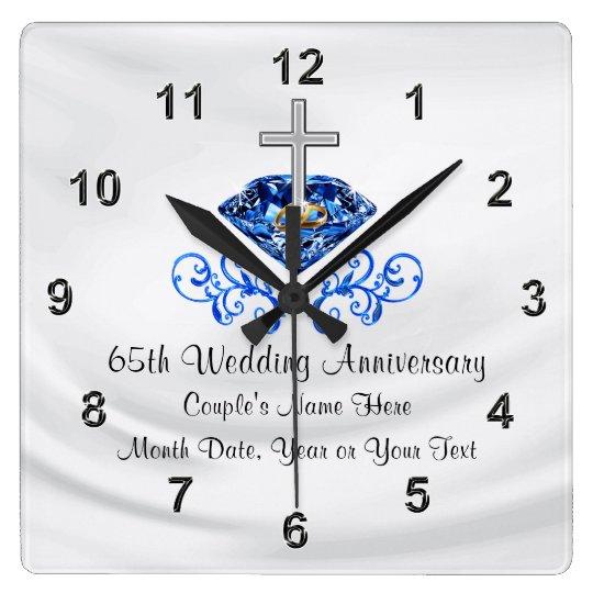 Christian 65th Wedding Anniversary Gifts Square Wall Clock Zazzle