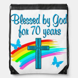 CHRISTIAN 70TH BIRTHDAY CROSS AND RAINBOWS DRAWSTRING BAG