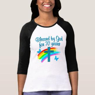 CHRISTIAN 70TH BIRTHDAY CROSS AND RAINBOWS T-Shirt